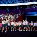 Australian team celebrates at the Olympic Games opening ceremony