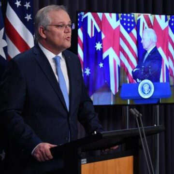 Prime Minister Scott Morrison touches down in New York ahead of Quad leaders' summit